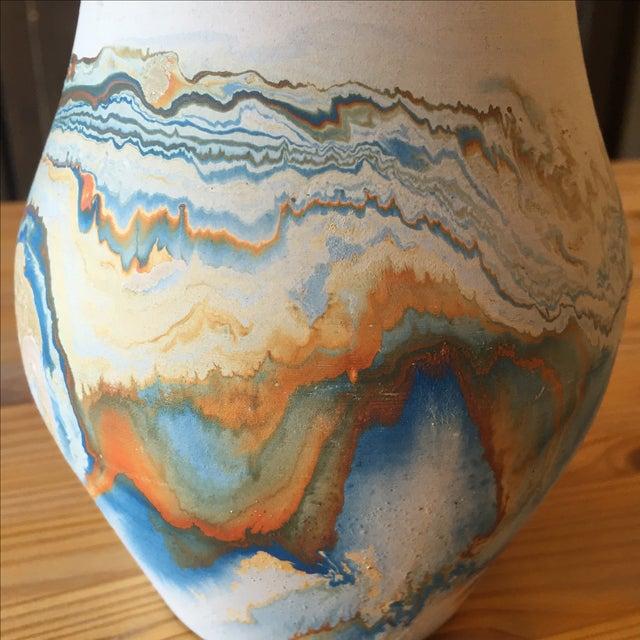 Vintage Blue and Orange Nedmadji Pottery Vase - Image 11 of 11