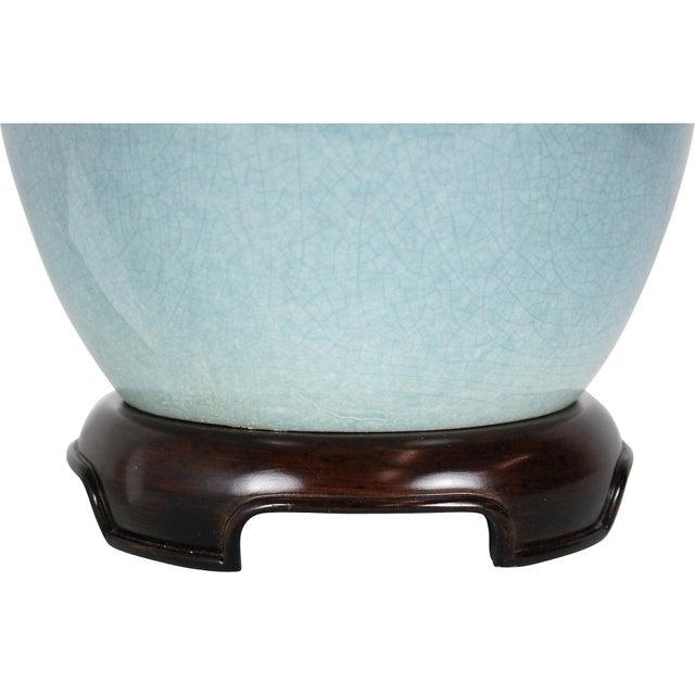 Vintage Blue Ceramic Crackle Lamp - Image 2 of 7
