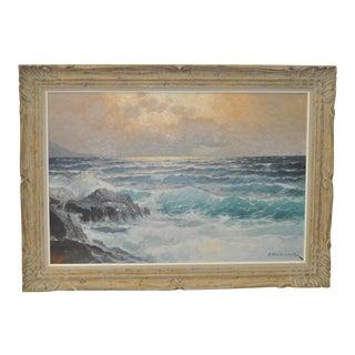 1960s Vintage Alexander Dzigurski California Coastal Seascape Painting