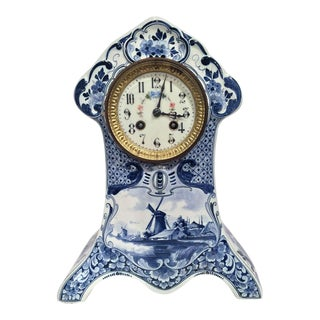 19th Century Blue & White Hand-Painted Delft Clock