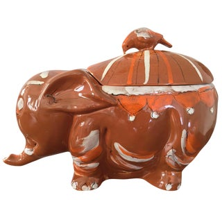 1960s Hand Painted Elephant Cookie Jar