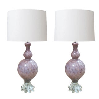 A Pair of Large Murano Archimede Seguso Amethyst Baluster-Form Lamp with Silver Inclusions