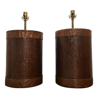 Hand Crafted Copper Clad Table Lamps - A Pair