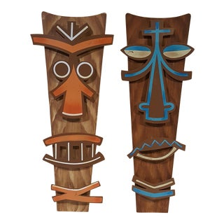 Tiki Metal Wall Art - a Pair