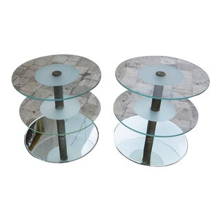 Art Deco Glass and Steel Side Tables in the Manner of Desny