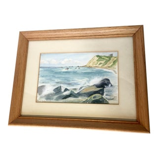 Vintage Framed Watercolor Seascape