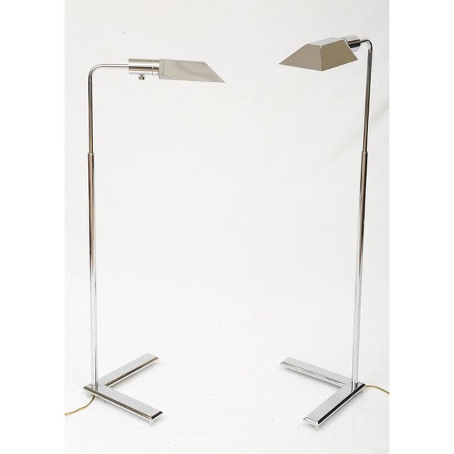 Cedric Hartman Style Chrome Floor Lamps - A Pair - Image 2 of 8