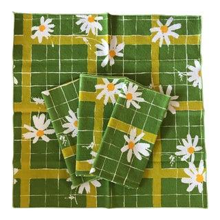 Vintage Yellow & Green Floral Napkins - Set of 4