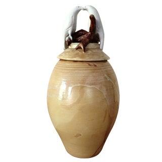 White Lovebirds Pottery Urn