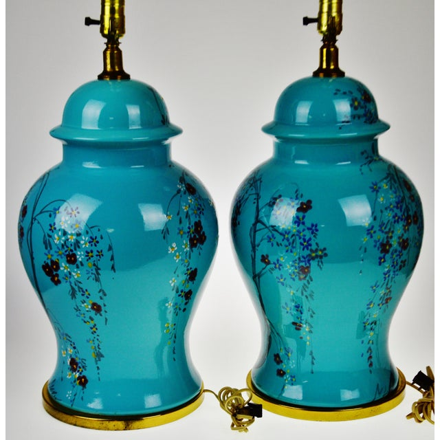 Vintage Large Scale Aquamarine Blue Hand Painted Asian Ginger Jar Lamps - A Pair - Image 6 of 11