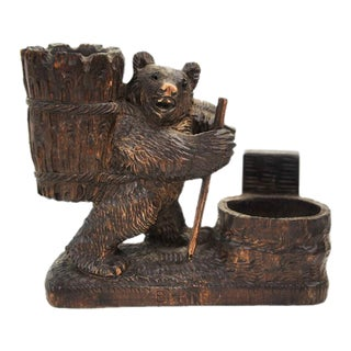 Swiss Black Forest Style Bear Decor Bowl