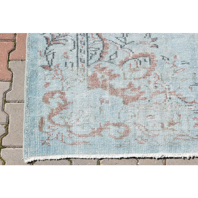 Vintage Oushak Sky Blue Distressed Handwoven Area Carpet -5′5″ × 8′2″ - Image 5 of 6