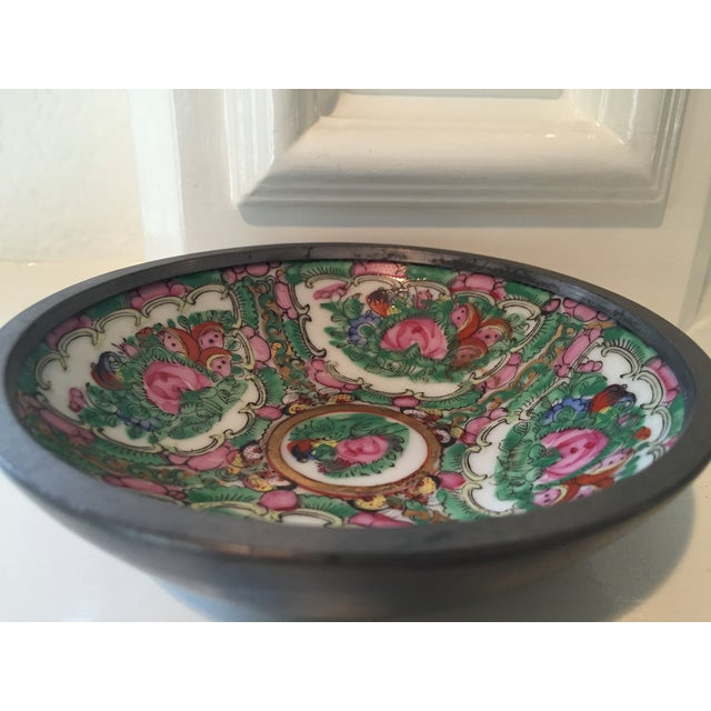 Image of Hand Painted Ceramic & Pewter Dish