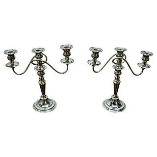English Chrome Plated Candelabrum - Pair