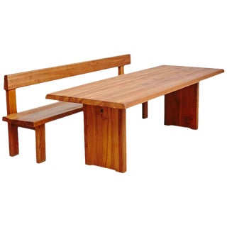 Set of Bench and Dinning Table by Pierre Chapo, circa 1960