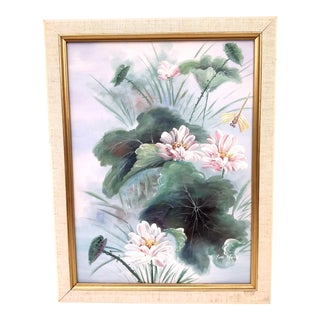 Vintage Oil Painting of Geraniums and Dragonfly