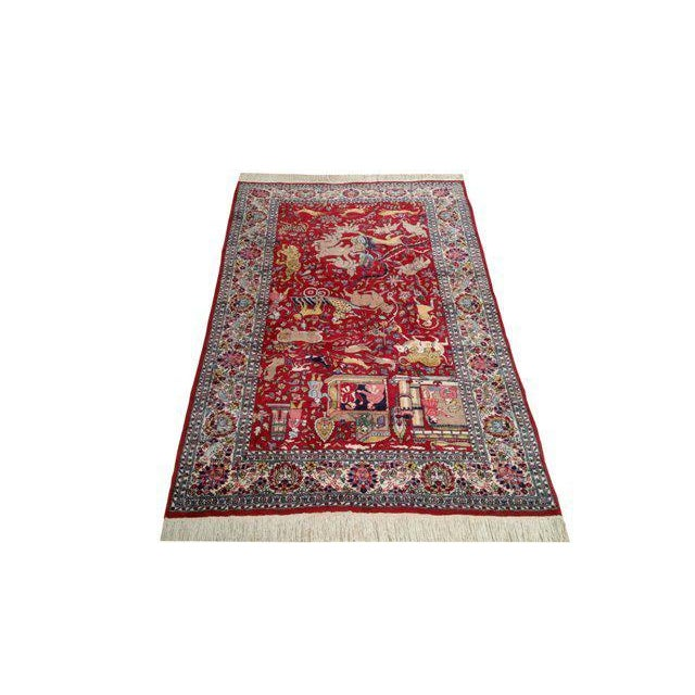 4′8″ × 7′5″ Vintage Scenery Hand Made Knotted Rug - Size Cat. 5x7 4x6 - Image 2 of 3