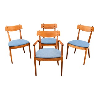 "Vintage Mid-Century Walnut ""Declaration"" Dining Chairs by Kipp Stewart for Drexel - Set of 4"