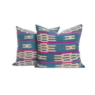 Vintage Indigo Ikat Pillows - A Pair