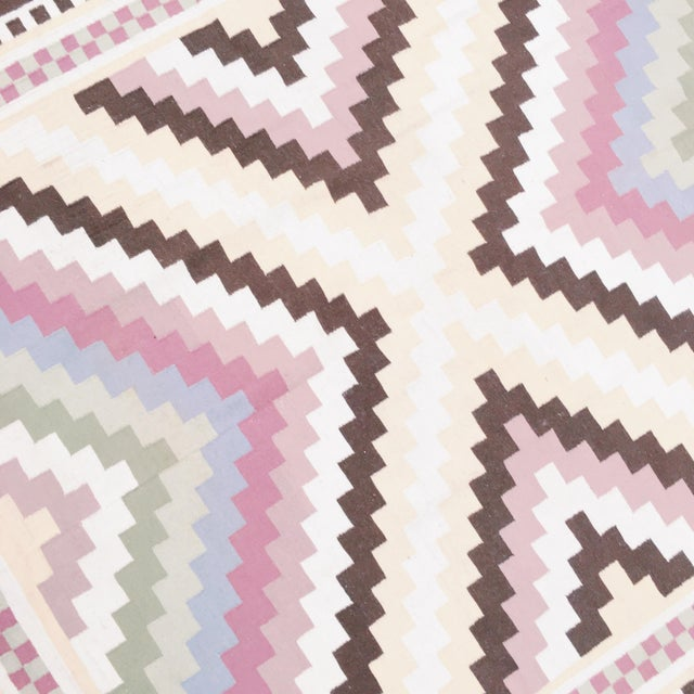 Multi-Colored Geometric Dhurrie Rug - 8′ × 10′ - Image 3 of 3