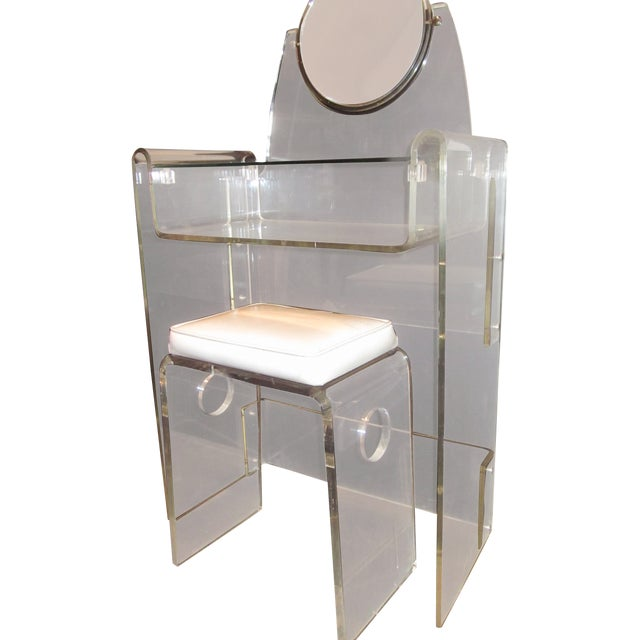 Lucite Vanity Stool Mirror Hollywood Regency - Image 1 of 10