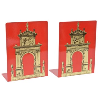 "Pair of Fornasetti Roman Classical ""Porta"" Metal Bookends"
