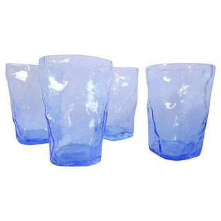 Mid-Century Blue Icicle Tumblers - Set of 4