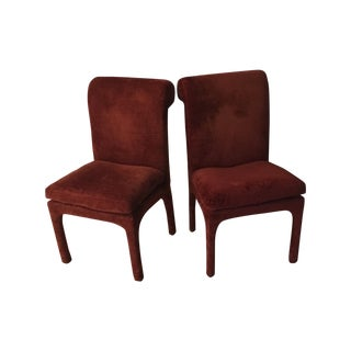 Thayer Coggin Vintage Maroon Chairs - A Pair