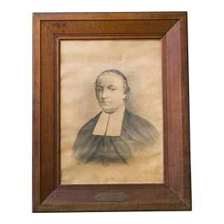 Collection of Five Large Antique Clergy Portraits in Oak Frames, circa 1838