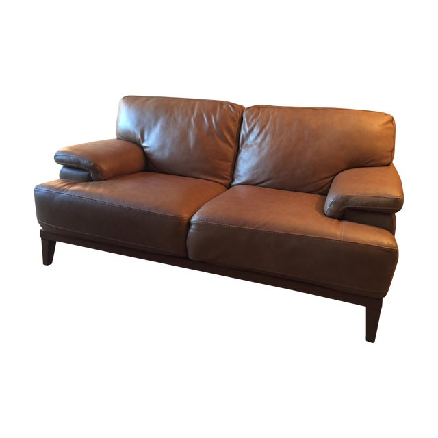 Designer Leather Couch - Image 1 of 5