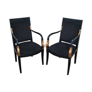 Black & Gold Neoclassical Dolphin Armchairs - Pair