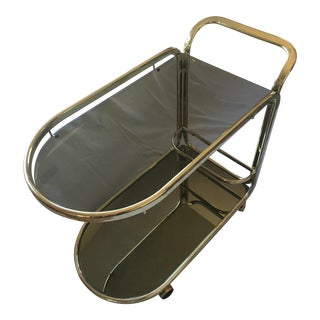 Vintage Glass Mirror Brass Tea Cart