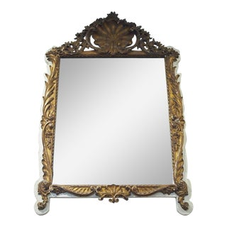 Regence Style Creme Paint and Gilded Mirror