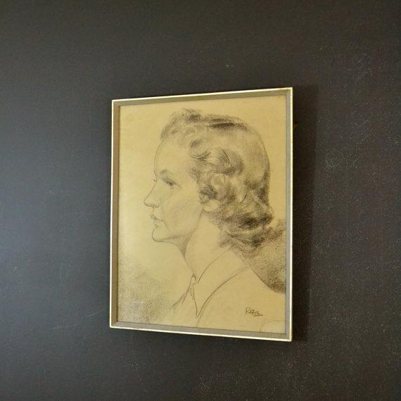 1956 Vintage English Hand Sketch of a Woman - Image 2 of 6