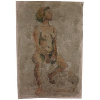 Seated Nude Model Watercolor by Lois Davis
