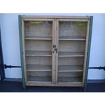 Image of Crackle Finish Glass Door Cabinet
