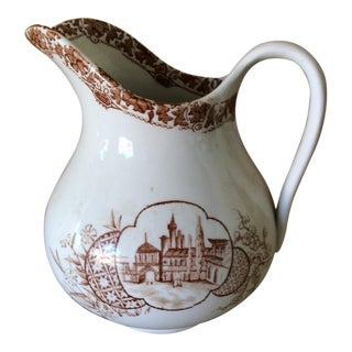 Vintage English Brown & White Pitcher