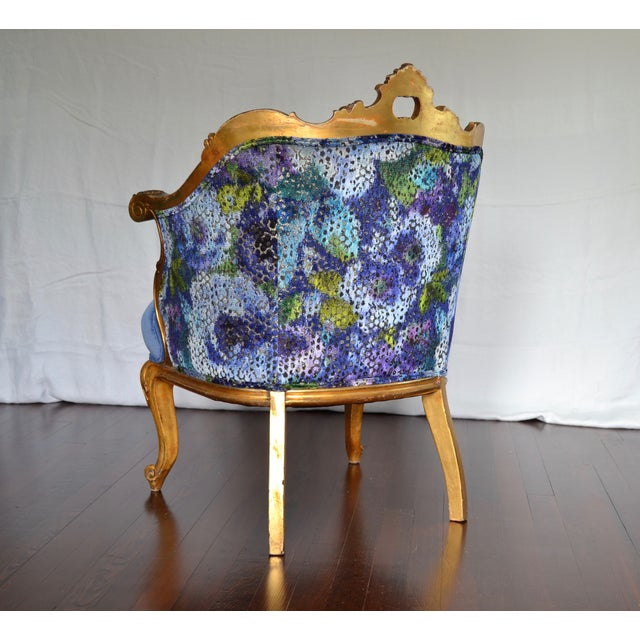 Antique French Gilded Louis XV Upholstered Cabriole Chair - Image 5 of 9