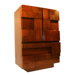 Lane Mid-Century Brutalist High Boy Chest of Drawers