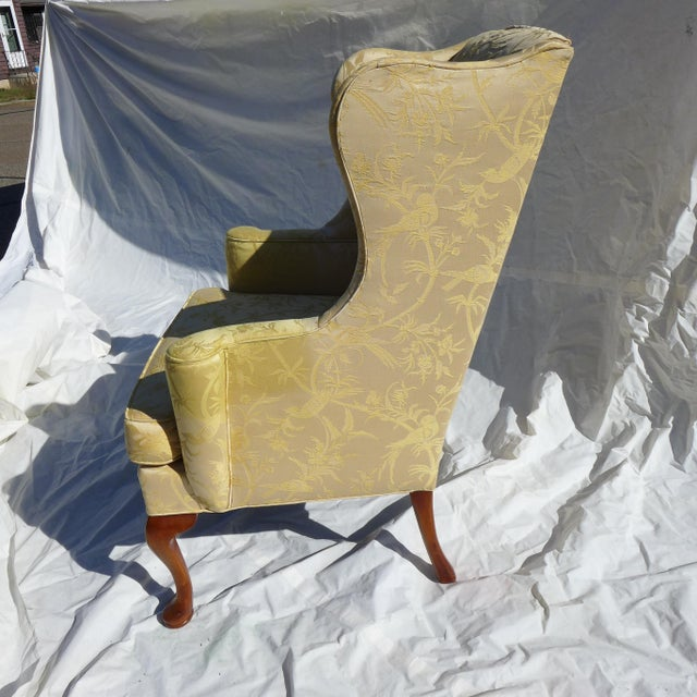 Vintage Mahogany & Yellow Damask Wingback Chair - Image 6 of 9