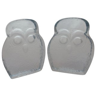 Mid-Century Blenko Owl Glass Bookends - Pair