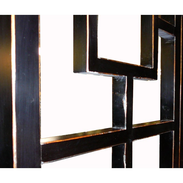 Image of Fusion Black Lacquer Open Panel Screen Headboard