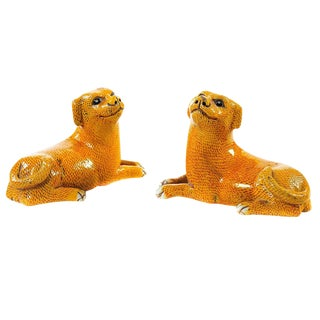 Chinese 19th Century Porcelain Foo Dogs - A Pair