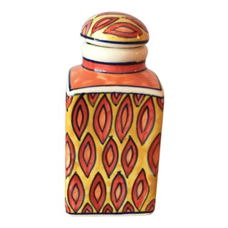 Red & Yellow Ceramic Boho Bottle