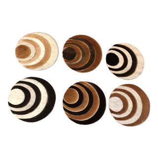 Vintage Eyeball Hair-On Hide Coasters - Set of 6