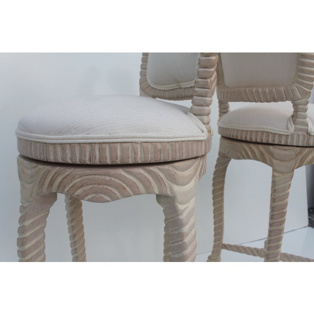 Image of Italian Carved Rope & Tassel Bar Stools - a Pair