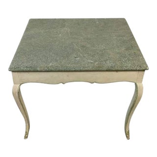 Vintage White Wood & Marble Side Table