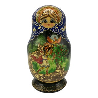 Vintage Hand Painted Signed Matryoshka With Fairy Tale Theme - 10 Piece Russian Nesting Dolls