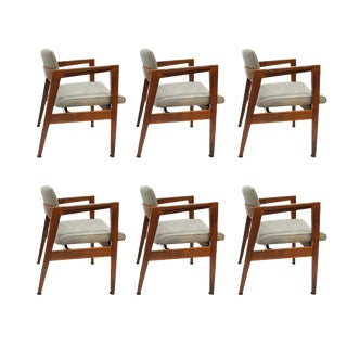 Gunlocke Mid-Century Modern Walnut Dining Chairs- Set of 6