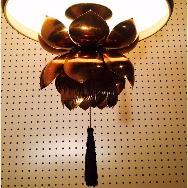 Feldman Brass Lotus Flower Hanging Drum Lamp - Image 3 of 8